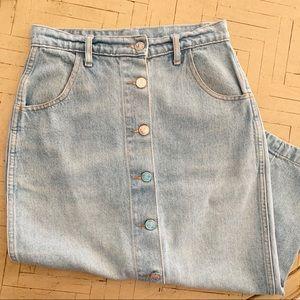 "Vintage Denim Midi Skirt Western Light Wash 26"" 2"